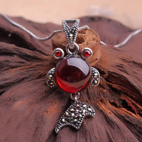 925 pure Silver Garnet goldfish necklace, national style elegant pendant