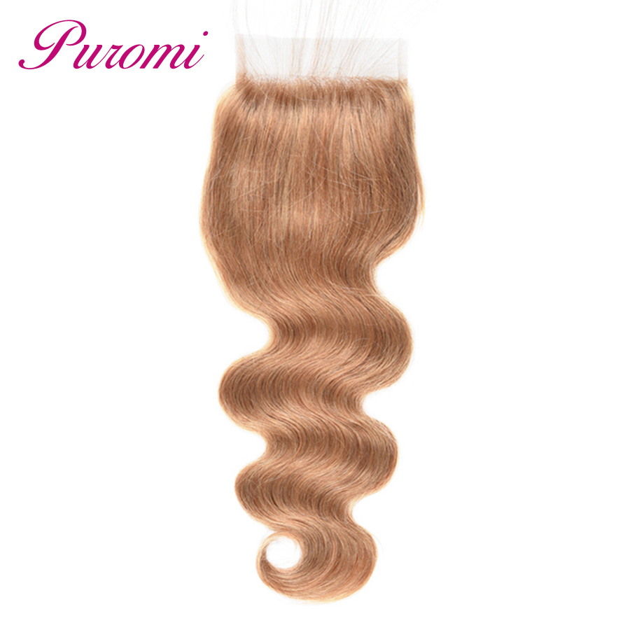 Imported From Abroad Puromi Hair Products Lace Closure 4*4 Body Wave Peruvian Hair Non Remy Honey Blonde #27 Cheveux Humain Hair Extension Moderate Price
