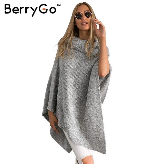 BerryGo Vintage coton pull à col roulé femmes tricot poncho irrégulière pull  streetwear D hiver 8ec3187d0c6