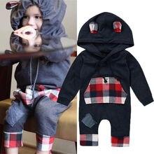 Newborn Infant Kids Baby Boys Warm Romper Jumpsuit Hooded Clothes Suit