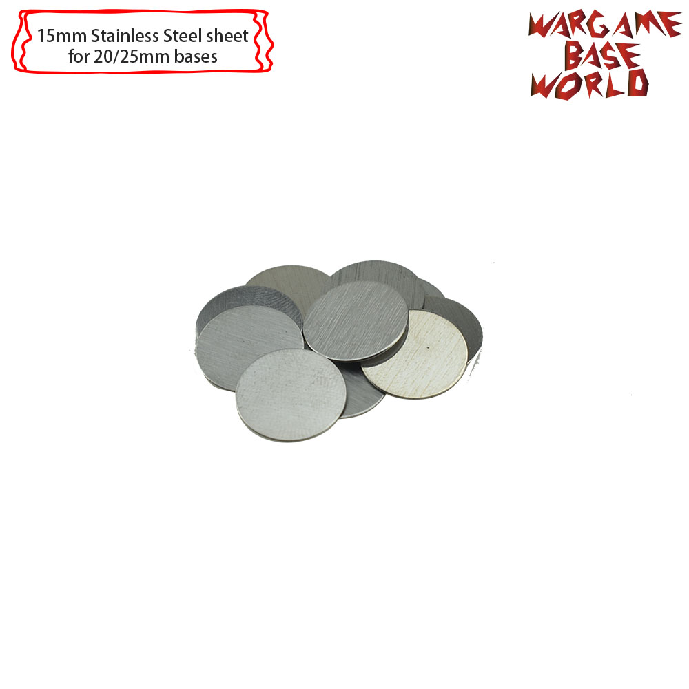 Wargame Base World - Movement Tray Accessories - Stainless Steel Sheet 15mm-30mm 10pcs