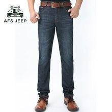 2017 afs jeep marke männer jeans klassische herrenbekleidung casual denim-hosen männer regelmäßige blau jean hosen 75cy