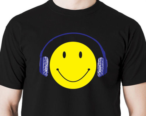 T Shirt Cheap Sale 100% Cotton Smile Face Dj Disc Headphones MenS Casual Short Sleeve O-Neck Tee Shirts