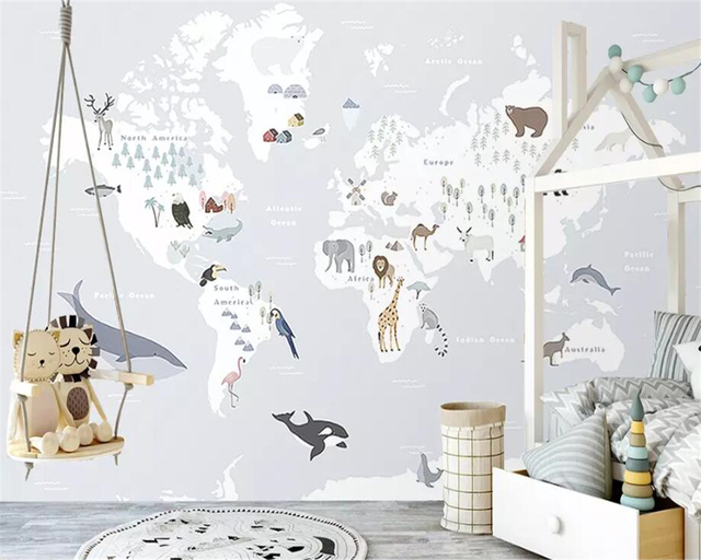 Beibehang  large 3D wallpaper mural giraffe world animal map children room background wall wallpaper for walls 3 d papel tapiz