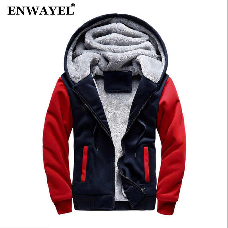 ENWAYEL Autumn Winter Hoodies Sweatshirt Men Casual Men Hooded Coat Fashion Thick Velvet Warm Male Fur Coat Korean Patchwork