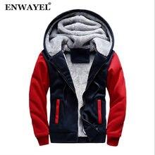 7a07aec1b36 ENWAYEL осень зима толстовки Толстовка для мужчин повседневное пальто с  капюшоном Мода толстый бархат теплый мужской
