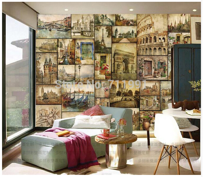 Free Shipping Custom 3D Wall KTV Bar Restaurant Bedroom Wall Murals Retro Nostalgia Of European Architecture