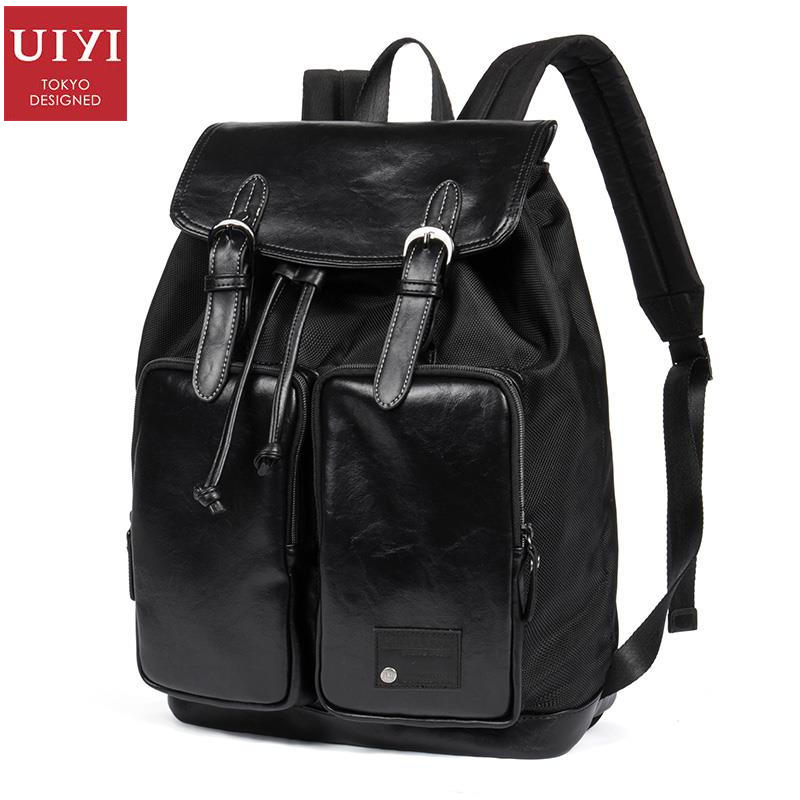 uiyi backpack men polyester microfiber pu leather patchwork backpacks for teenagers school rucksack school bags travel 160014 UIYI Backpack Men Polyester PU Leather Patchwork Backpacks For Teenagers School Mochila Bags Travel 14 Inch Laptop 160009
