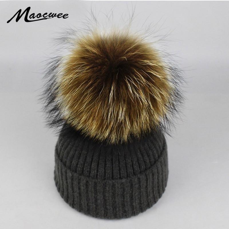 ba5ac10a5e1 Women Winter Hat Raccoon Fur Big Pom Poms Hat Beanies Crochet Knitting Fur  Warm Cap Women Winter Fashion Knit Bone Gorras 2018-in Skullies   Beanies  from ...