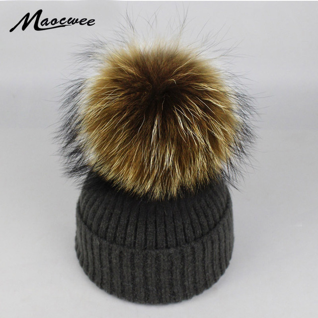 21efaf80c9b Women Winter Hat Raccoon Fur Big Pom Poms Hat Beanies Crochet Knitting Fur  Warm Cap Women