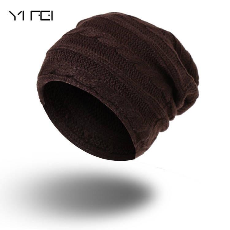 YIFEI Women Wool Knit Beanie Crochet Braided Knit Beanies Hat Warm Cap Hat Bonnet Homme Gorro Autumn Hat Female Winter Caps Hats
