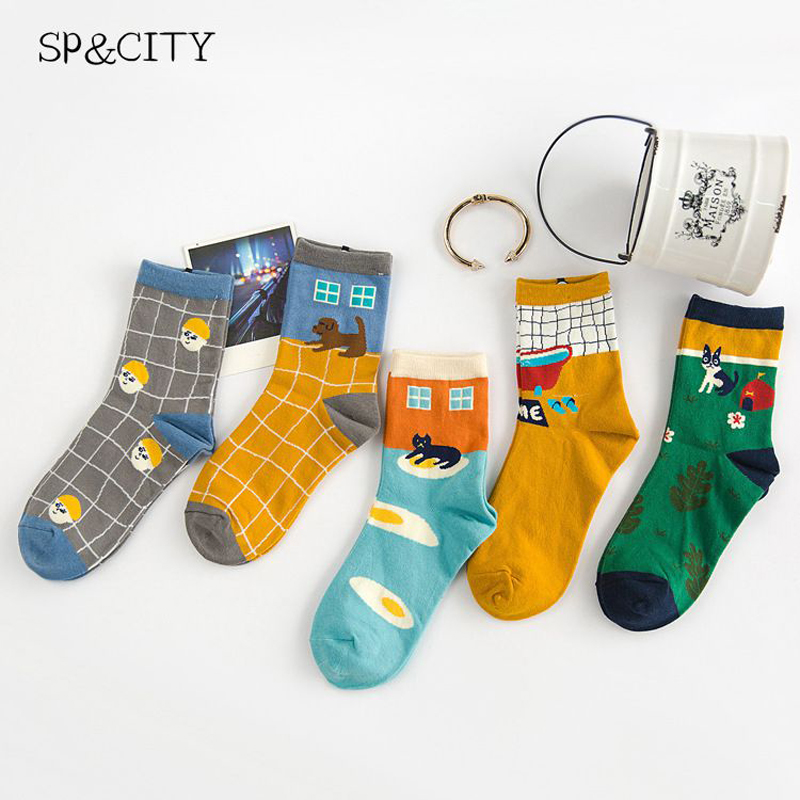 Vintage Women Cartoon Patterned Funny   Socks   Fashion Cute Harajuku Short   Socks   Female Cotton Low Art Harajuku   Socks   Art Low Sex