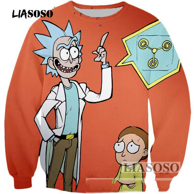 LIASOSO Brand clothing 3D Sweatshirt Cartoon Rick and morty Sweatshirt Funny Scientist print Outerwear Men/Women Pullovers T3349