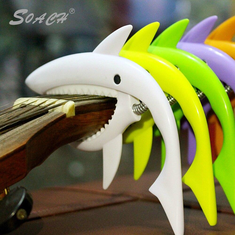 SOACH new plastic personality shark capo multiple color options ukulele Guitar Parts & Accessories