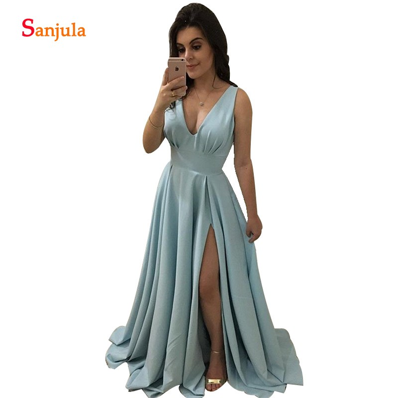 Light Blue Long   Bridesmaid     Dresses   Simple Elegant Women Party   Dress   Side Slit Wedding Guest Gowns Vestidos Para Boda BY81