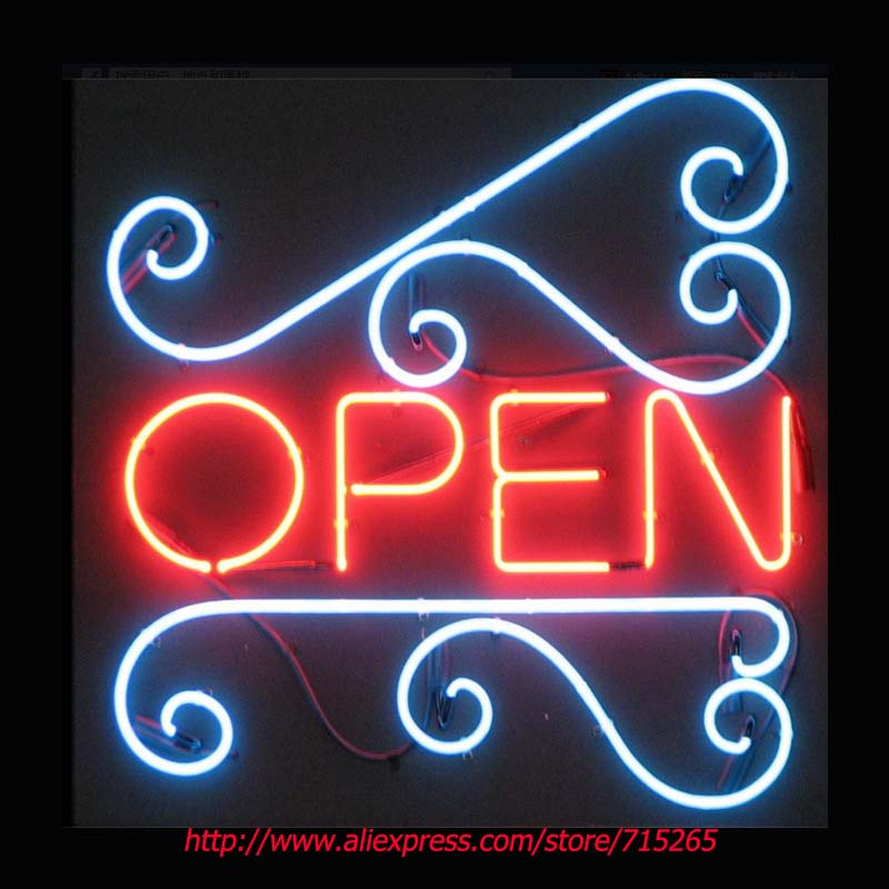 Open Neon Signs Pattern Signage Board Neon Bulbs Real GlassTube Handcrafted Recreation Beer Bar Windows Business Display 17x17