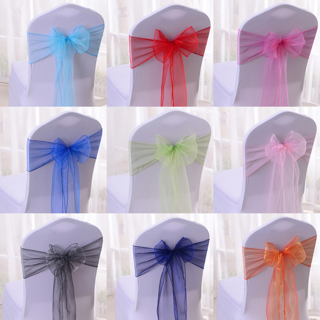 Wholesale 100pcs Lot DIY Wedding Organza Chair Cover Sash Bands Bowknot Party Birthday