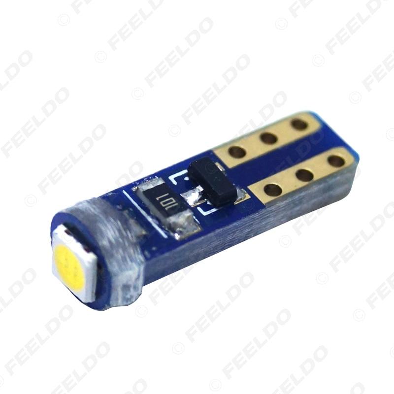 FEELDO 10Pcs White T5 7417 Car LED Light 3030 1LED LED License Plate Parking Lights Side Lamp Bulb Light