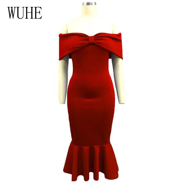 MIXI Vestidos 2019 Elegant Party Dress Women Blue Red Black Bow Cape Off Shoulder Mermaid Dress Vintage Ruffles Bodycon Dresses