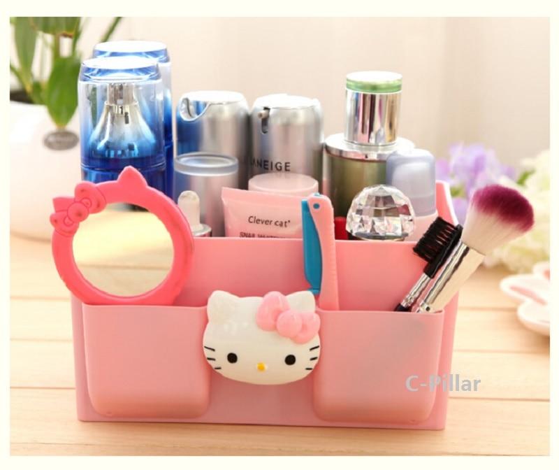 Lovely Hello Kitty Pattern Box Multifunctional Debris Storage Boxes Makeup Organizer Pink Desktop Case Free Shipping