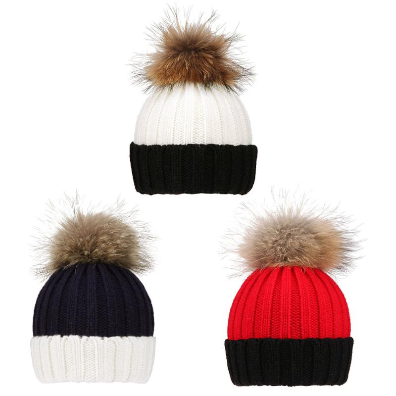 Winter Fur Hats For Kids Children Baby Boys Girls Ball Knit Faux Raccoon Fur Pom Beanie Baby Hat Winter Ski Cap