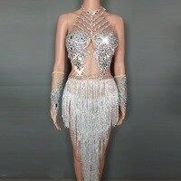 Новый дизайн супер жемчуг стразы перья кисточкой боди Сексуальная для сцены женская одежда танцев стрейч наряд