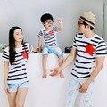 2017 новый мать отец детские футболки дети лето хлопок полосой футболка семьи сопоставления одежда оптовая D802