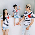 2017 new mother father baby t-shirt children summer cotton stripe tshirt family matching clothes wholesale D802