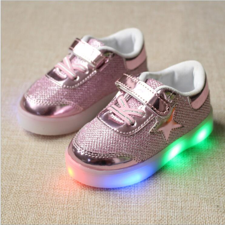 Girls Boys Light Up LED Sneakers Baby/Toddler/Little Kid School Casual Trainers Children Flashing Shoes