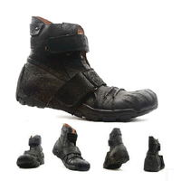 Motorcycle Boots Genuine Cow Leather Motorcycle Racing Shoes Street Moto Chopper Cruiser Touring Motorbike Riding Mid Calf Shoes