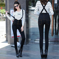 2016 New Arrival Fashion Black High Waist Bib Jeans Woman Suspender Pencil Skinny Jeans Single Breasted Pocket Denim Pants