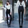 2016 Nueva Llegada de La Manera Negro Del Babero de Cintura Alta Jeans Mujer Lápiz Flaco Pantalones Vaqueros de Bolsillo de Un Solo Pecho de Mezclilla Suspender Pantalones