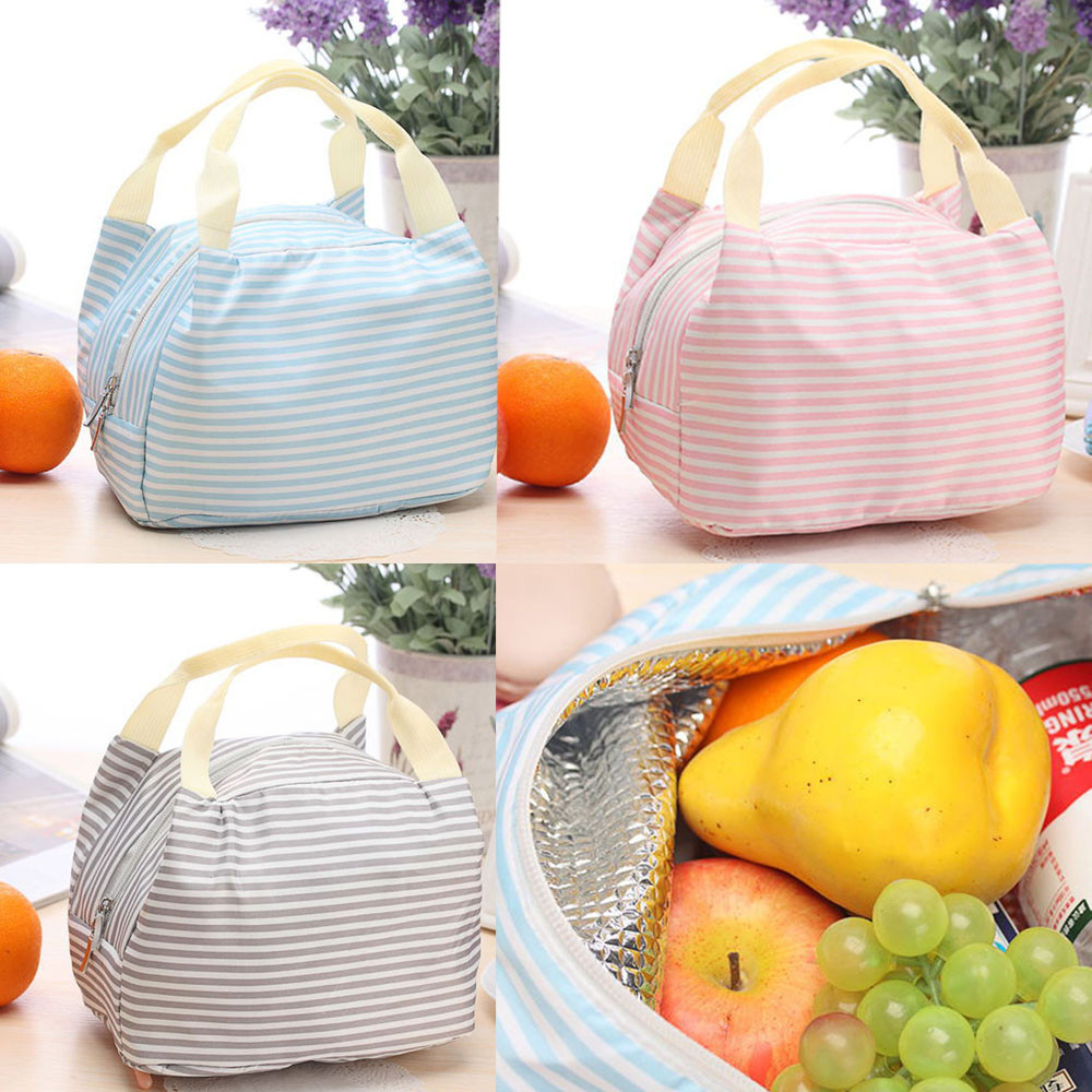 1Pc Zipper Insulated Thermal Bag Tote Cooler Oxford fabric Bag Bento Lunch Pouch Fast Food Box Handy Cooler Keep Warm