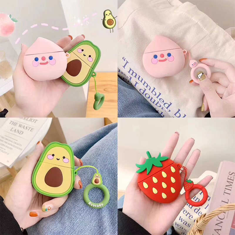 Cases For Apple AirPods 2 Soft Cartoon Avocado Strawberry Earphone Case For Air Pods 1 Charging Box Cover For Airpods With Hooks