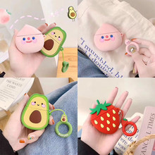 Cases For Apple AirPods 2 Soft Cartoon Avocado Strawberry Earphone Case For Air Pods 1 Charging Box Cover For Airpods With Hooks(China)