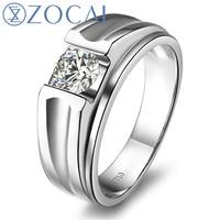 ZOCAI БРЕНД ПРИРОДНЫЙ 0.3 КТ CERTIFIED F G/VS DIAMOND ЛЮДЕЙ обручальное кольцо круглого сечения 18 К белого золота ювелирные изделия M00491