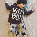 2016 moda otoño bebé recién nacido ropa de algodón t-shirt + pants 2 unids mono lindo bebé de los cabritos ropa sets bebé reborn bebes