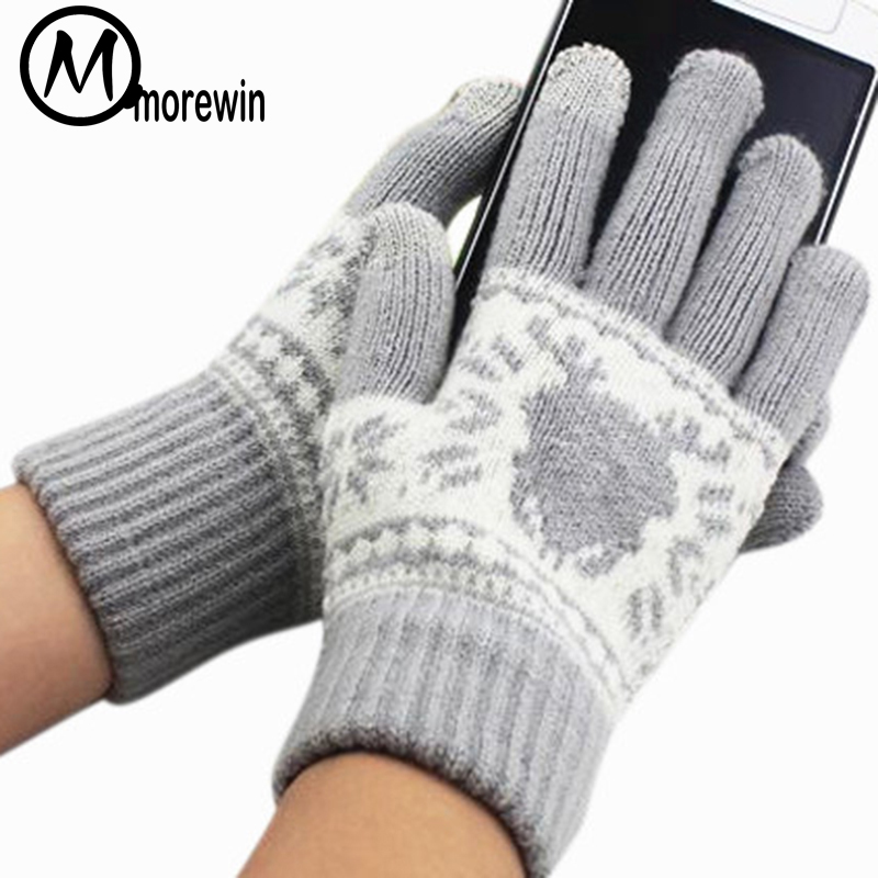 Morewin Fashion Patterns Driving Gloves For Women Men Knitted Spring Warm Touch Screen Gloves Smatphone Mittens Free Size