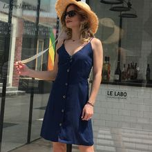 цены Women's V Neck Summer Spaghetti Strap Solid Color Button Down Swing Mini Back Bow Knot Dress Laipelar