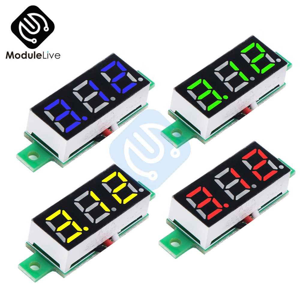 0.28 Inch 0.28'' 3 Bits Wire Mini DC Digital Panel Voltmeter Panel Mount LED Voltage Meter Tester Yellow Blue Red Green