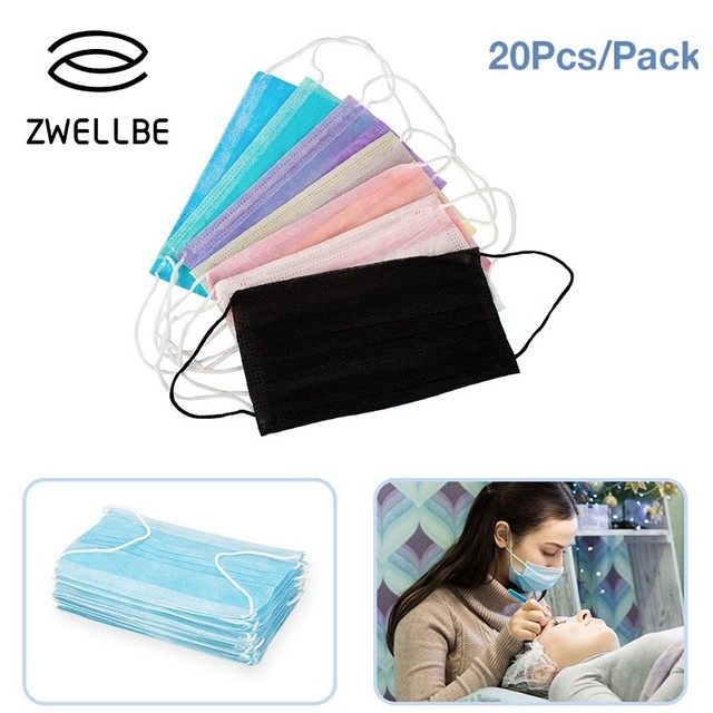 20PCS/Pack Colored Anti-dust Windproof Mask Disposable Mouth Nose Face Care Eyelash Extension Non-woven Fabric Masks
