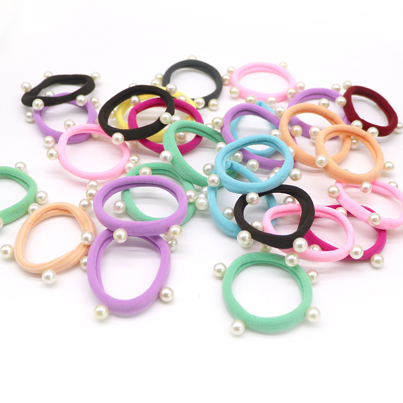 10Pcs Fashion Women Pearls Elastic Hair Band Hair Accessories For Girls Ponytail Holder Towel Ring Headwear Multicolor Tie Gum
