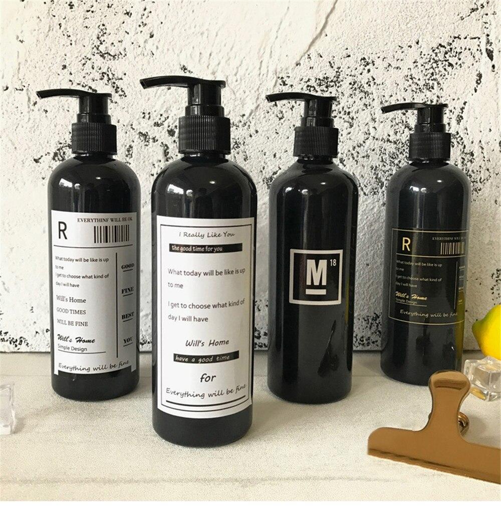 300 ml nordic chic mandi sampo botol penyimpanan dengan stiker vogue hitam plastik lotion press botol perjalanan penyelenggara dekorasi di penyimpanan botol