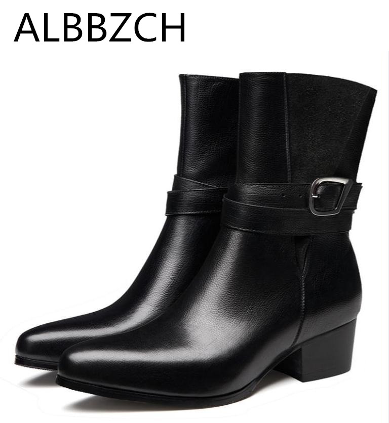 Autumn winter genuine leather men boots high heels pointed toe fashion buckle design slip on mens warm business dress work boots