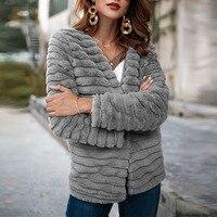 JAPPKBH Faux Fur Coat Women Winter Casual Faux Fox Fur Jacket Warm Slim Fake Fur Women Coat Jacket veste fourrure femme