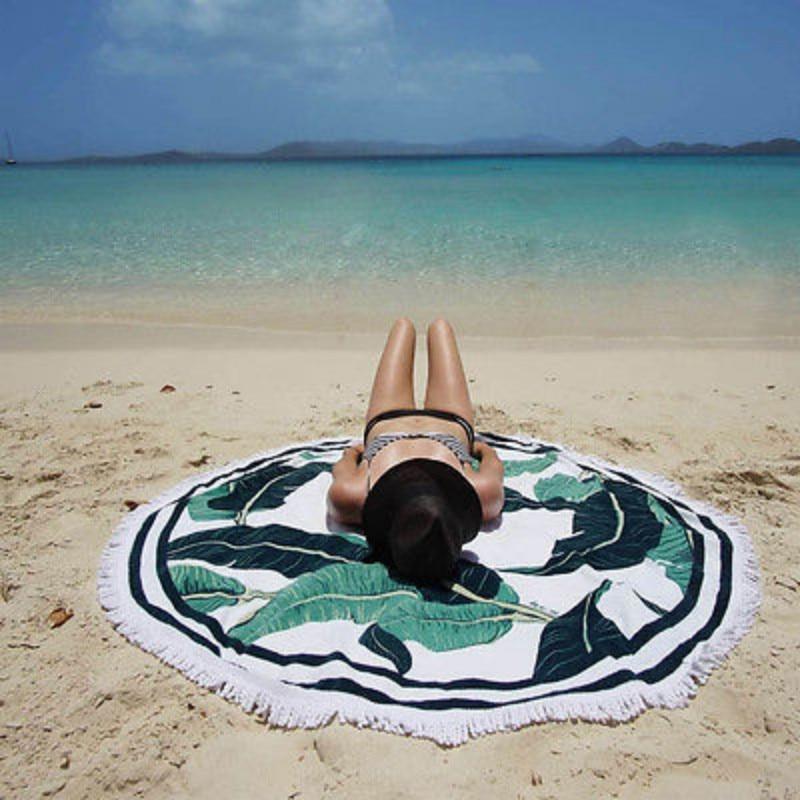 Bath Towels 1pcs Bath Towel Round Beach Towel Yoga Mat 150cm Printed For Adults Seaside Holiday Sunscreen Shawl