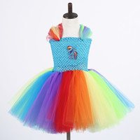 Little Girl Tutu Dress Pony Rainbow Dash Twilight Sparkle Costumes Baby Birthday Dresses Baby Photo Props