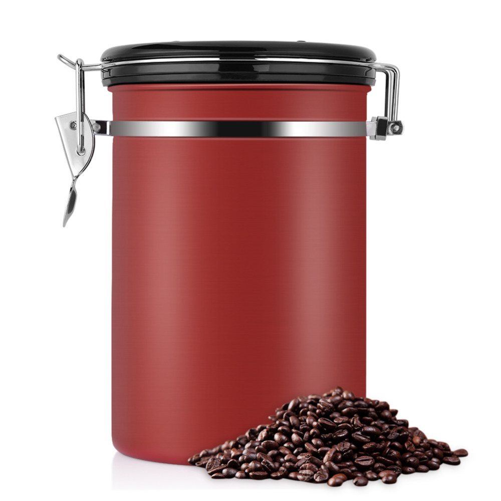 Us 19 72 47 Off Stainless Steel Airtight Coffee Container Kitchen Storage Jar Storage Canister Coffee Bean Seal Vacuum Sotrage Jar Bottles In