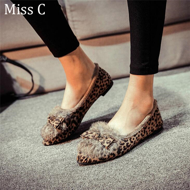2422a26d6 2017 European Bow Fluffy Fur Lined Women Flat Shoes Pointed Toe Leopard  Print Soft Warm Winter Shoes Women Ladies Loafers WFS78
