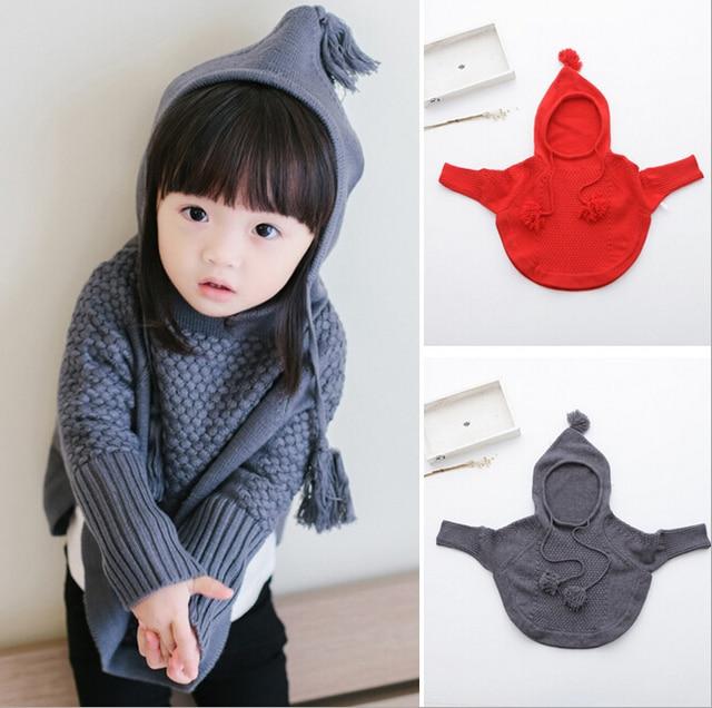 2016 свитер Мода осень девушки трикотажные Плащ Плащ с капюшоном верхняя одежда детская одежда детская верхняя одежда дети пальто 2-8years